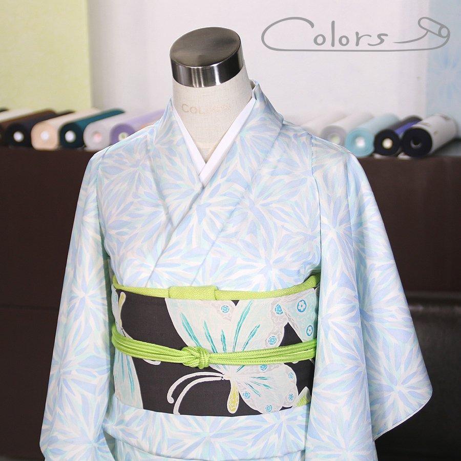 オーダーメイド WOMEN 小紋  重なり菊 ブルー