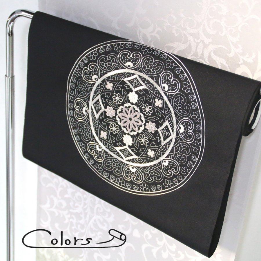 WOMEN 名古屋帯 丸紋刺繍 袋帯 黒地