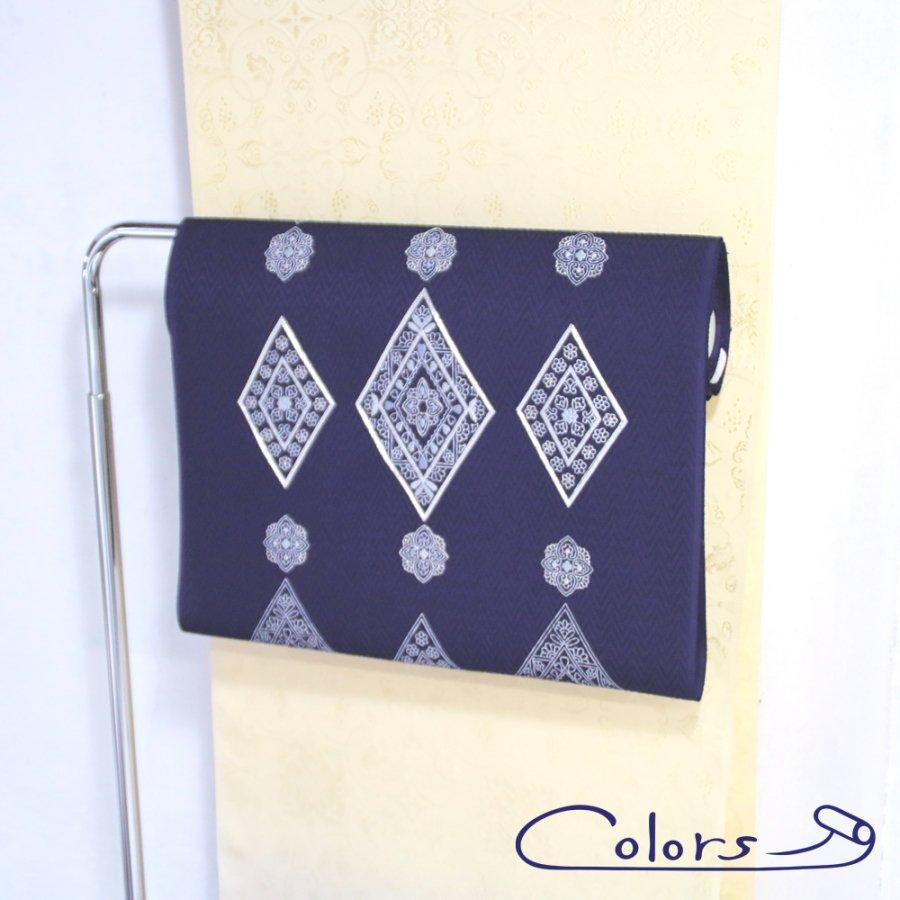 WOMEN 袋帯 菱紋刺繍 紫紺