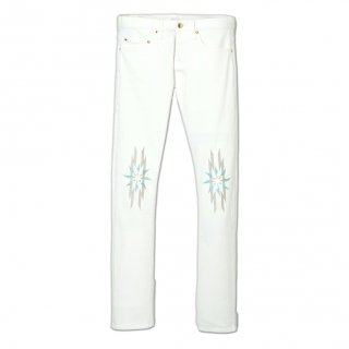 EMBROID HIGH-STREACH WHITE DENIME SLIM PANTS