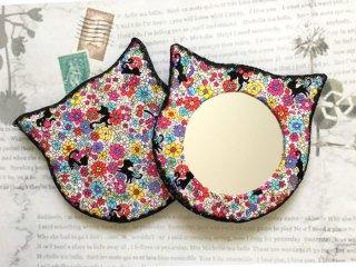 猫型ハンドミラー miramira 黒猫とお花畑