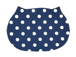 【サンプルセール】猫型ランチマット*ニャンチョンマット 水玉猫(紺×ベージュ)