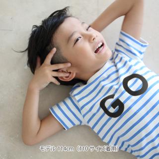 CAYA/(GOプリント)ボーダー半袖Tシャツ(ユニセックス)