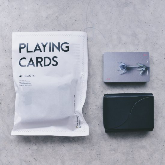 [OF PLANTS] PLAYING CARDS + LEATHER CASE SET(Black)