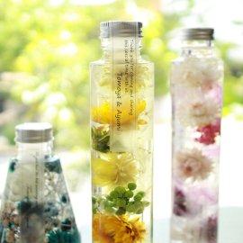 ハーバリウム専用オイル、ボトル、デザインシール【透明つや消し】資材セット:円柱
