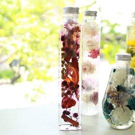 ハーバリウム専用オイル、ボトル、デザインシール【透明つや消し】資材セット:角柱