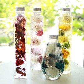 ハーバリウム専用オイル、ボトル、デザインシール【透明つや消し】資材セット:MIX