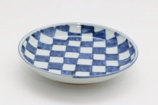 染付市松 4.5寸皿