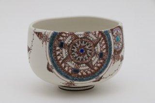 葡萄茶彩描 抹茶碗 丸紋