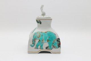 神象の絵 香炉