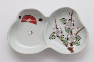 文鳥型皿 文鳥の花