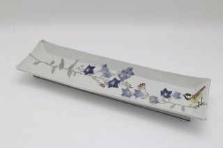 桔梗と山雀の長絵皿