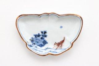 豆皿 縁起物 蝶に猫