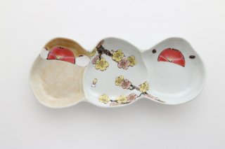 文鳥型皿 3連 梅