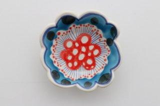 花豆皿 青×ドット