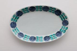 色絵花並べ楕円皿