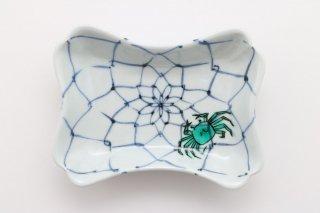 色絵網目に蟹 変形皿