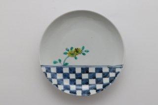 色絵 石畳に菊花皿