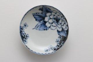 染付牡丹桜文 豆皿