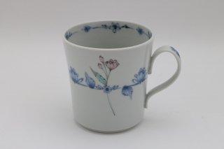 色絵染付花文 マグカップ