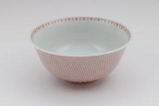 飯碗 赤絵とり網紋