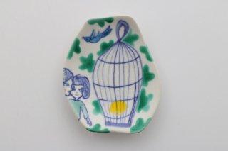 豆皿 青い鳥