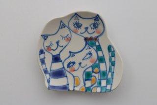 豆皿 三匹の猫 A