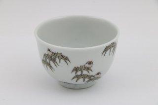 煎茶碗 竹にすずめ