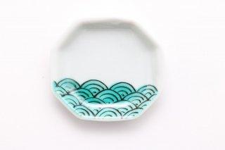 八角豆皿 青海波