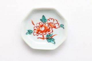 八角豆皿 牡丹
