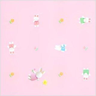 【包装紙】 ピンクのうさぎ