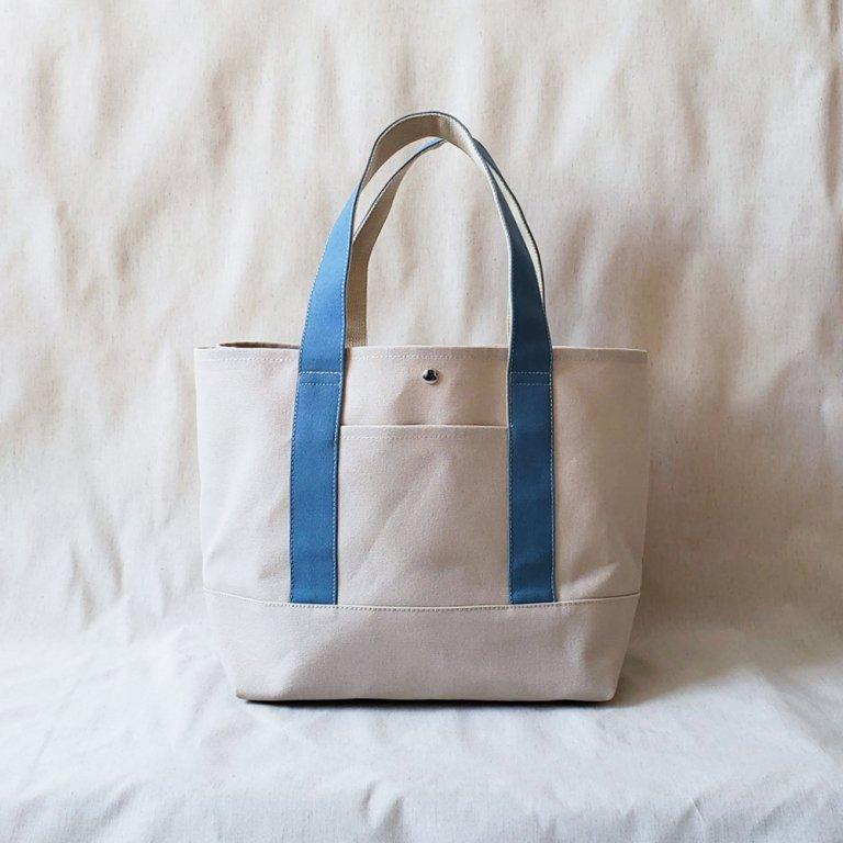 【季節で変わるトートバッグ】 L サンドベージュ×持ち手ブルージェイド