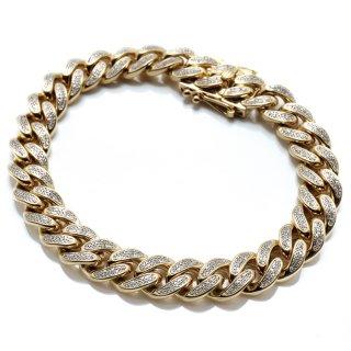 ダイヤモンド 10K イエローゴールド ブレスレット 幅10mm 18.5cm