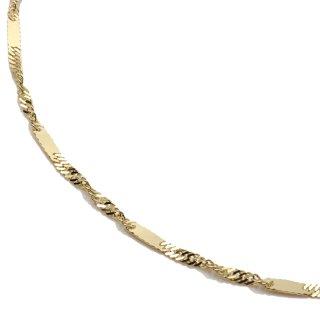 10K イエローゴールド ネックレス 幅2mm 40cm〜50cm