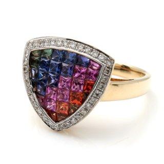 ダイヤモンド 14K イエローゴールド リング 15号