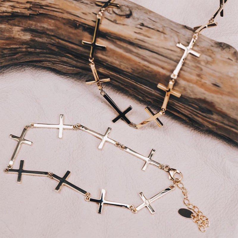 10K イエローゴールド ネックレス 幅10mm 45cm〜49cm