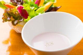 【新商品】旅館でお出ししている「紫芋スープ」