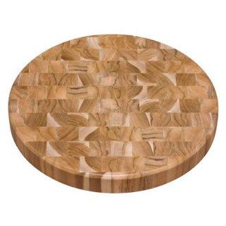 木製ラウンドエンドグレインカッティングボード 直径38cm CHURRSCO