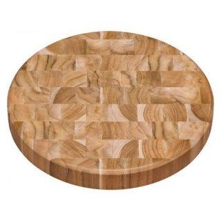 木製ラウンドエンドグレインカッティングボード 直径30cm CHURRSCO