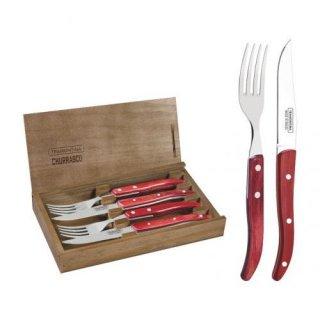 ポリウッド EUステーキナイフ&フォーク4pc レッド 木箱