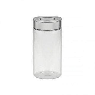 ワンタッチ式 密閉グラスコンテナ容器 (キャニスター) ステンレス蓋 1L プレッザ