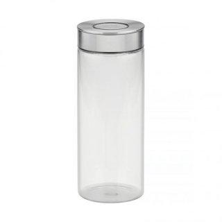 ワンタッチ式 密閉グラスコンテナ容器 (キャニスター) ステンレス蓋 1.4L プレッザ