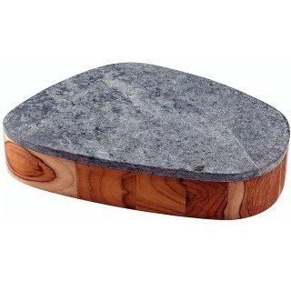 コンクレータ チーク皿 石蓋付き 31×25cm