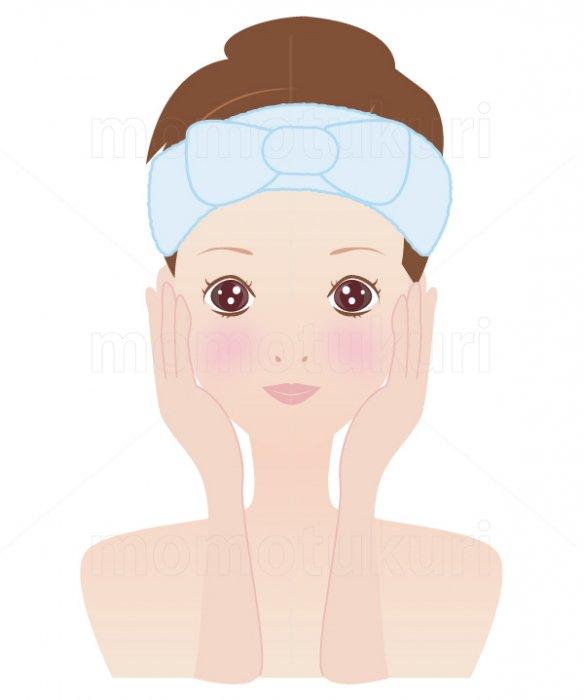 美容-スキンケア 肌  美肌 洗顔 スキンケア  ヘアバンドを巻く女性 10