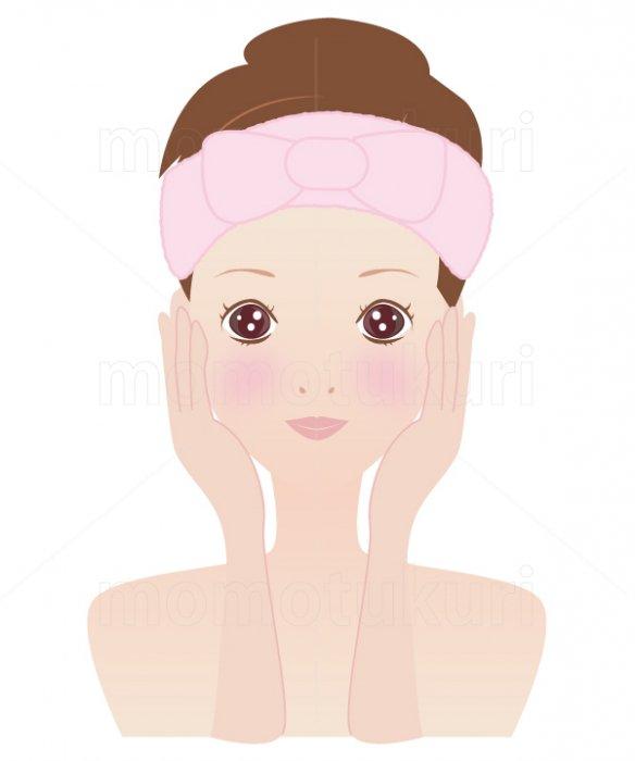美容-スキンケア 肌  美肌 洗顔 スキンケア  ヘアバンドを巻く女性 12