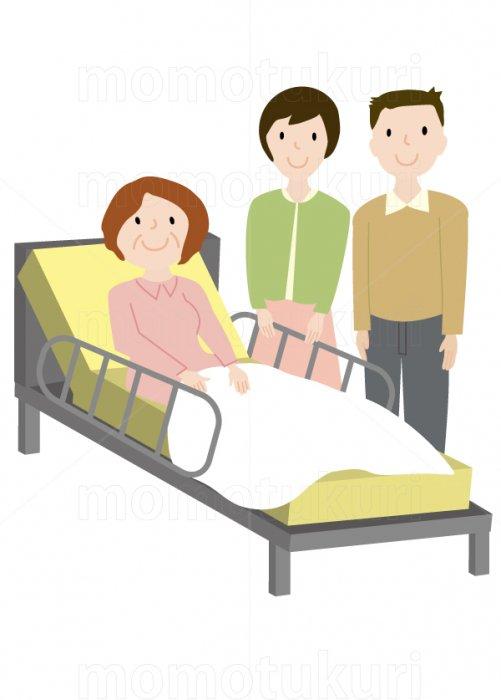介護ベット お年寄り 家族(娘 婿、嫁 息子、夫婦)    笑顔 イラスト