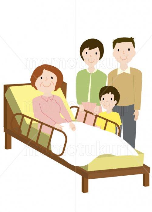 介護ベット お年寄り 家族(娘 婿、嫁 息子、夫婦、孫、少年、男の子)    笑顔 イラスト 3