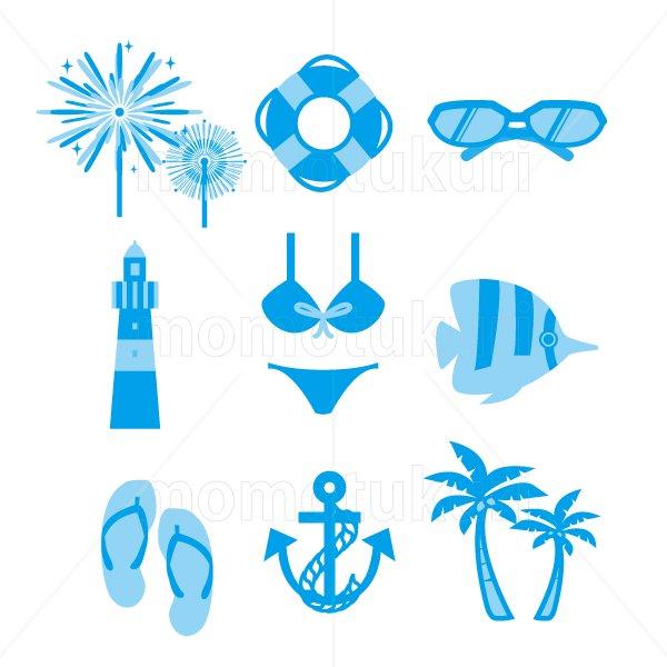 夏 アイコン セットset (花火 浮き輪 サングラス 灯台 水着 ビキニ  ビーチサンダル  いかり ヤシの木)2