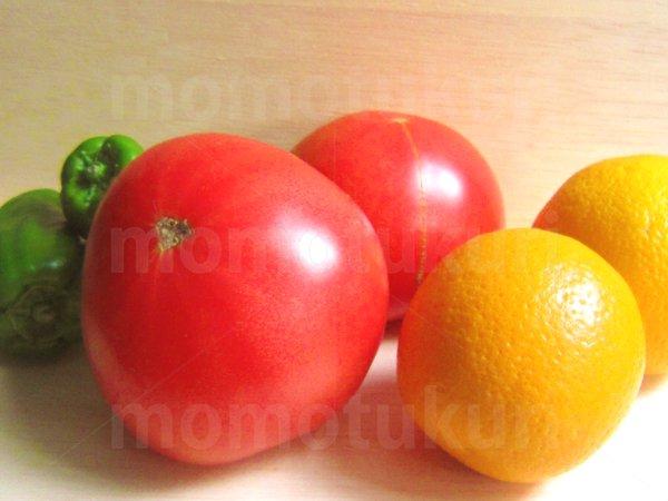 夏野菜 トマト ピーマン オレンジ 写真