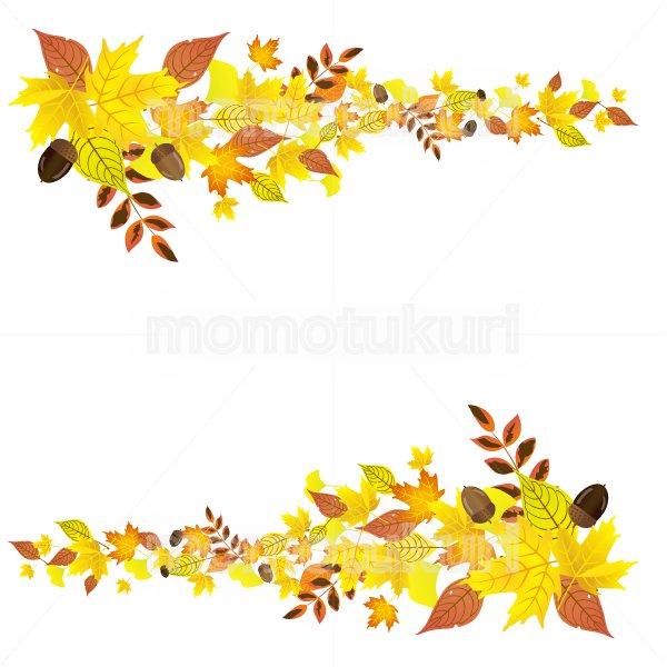 紅葉 もみじ  いちょう ナンテン 落ち葉 カエデ どんぐりの 背景 フレーム  2